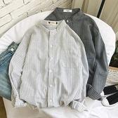 條紋襯衫男立領長袖百搭寬鬆學生青少年襯衣潮 法布蕾輕時尚