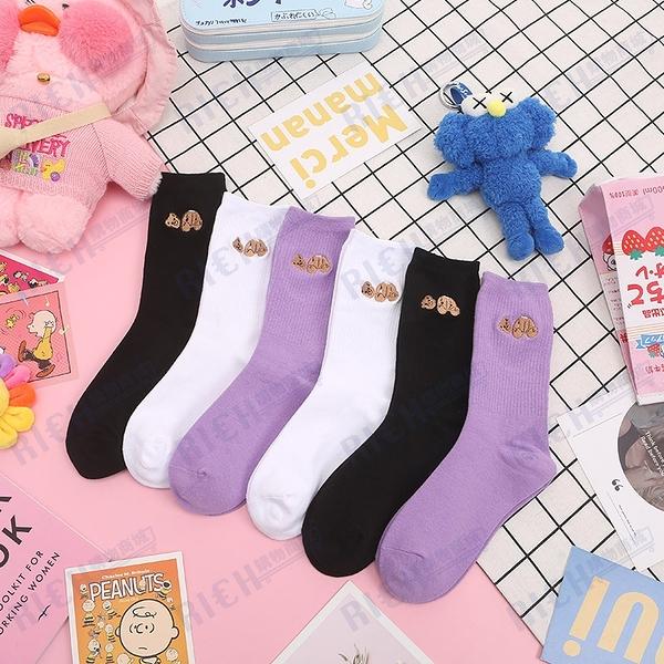 潮牌PALM棕櫚樹天使angle紫色斷頭熊襪子女中筒運動情侶襪