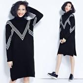 條紋高領針織連身裙潮秋冬新 大尺碼女裝胖mm拼接加厚長袖打底毛衣裙