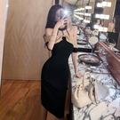 平口洋裝/一字領 一字肩禮服修身法式小黑裙性感露肩名媛掛脖連身裙設計感小眾夏季