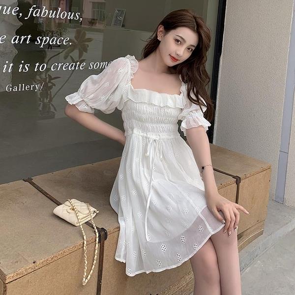 小洋裝 連身裙好質量甜美仙女泡泡袖方領短袖連身裙設計感小個子裙子夏FFA027韓衣裳