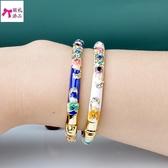 景泰藍手鐲女民族風鍍金復古時尚飾品首飾禮物(少女手鐲)