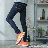 【OBIYUAN】牛仔褲 素面 車線造型 彈性 窄管褲 單寧長褲共色【P2136】