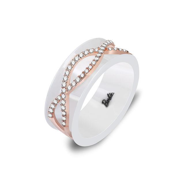 芭比典雅系列 別致花落南山陶瓷水鑽戒指