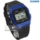 CASIO卡西歐 F-91WM-2A 復古造型方型設計運動數位電子錶 男錶 中性錶 防水 黑x藍框 F-91WM-2ADF
