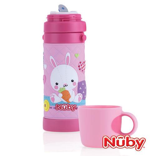 【愛吾兒】Nuby 3D超輕量不銹鋼真空背帶水壺(杯蓋)450ml-粉紅兔
