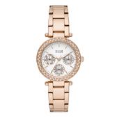 ELLE Marais 系列點綴生活晶鑽三眼腕錶-白X玫瑰金