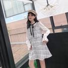 洋裝小香風 秋冬新款小個子氣質長袖假兩件裙子呢子打底裙連衣裙女 莎瓦迪卡