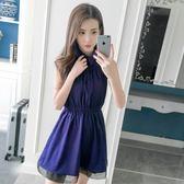 2018夏季新款小清新蓬蓬無袖柔美雪紡連身裙
