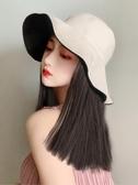 假髮帽漁夫帽子女韓版潮百搭假發帽子一體時尚女春夏天網紅長直發防曬帽
