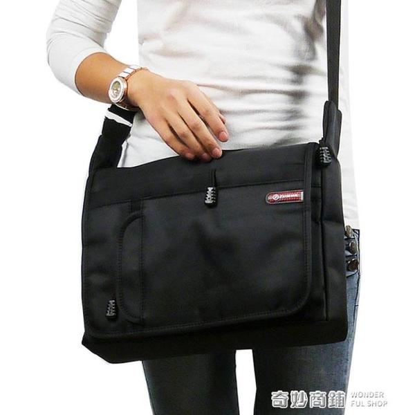 大容量牛津布側背包男包斜背包商務黑色多功能男士包包快遞背包 奇妙商鋪