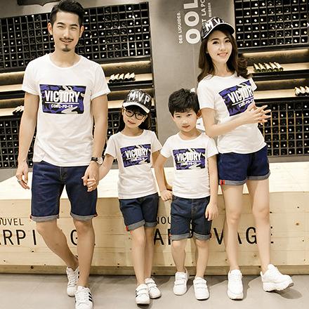 韓版城市迷彩字母短袖T恤親子裝(大人)