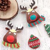 【BlueCat】聖誕節大鼻子橫條圍巾麋鹿棒棒糖吸管裝飾卡/派對裝飾(25入)