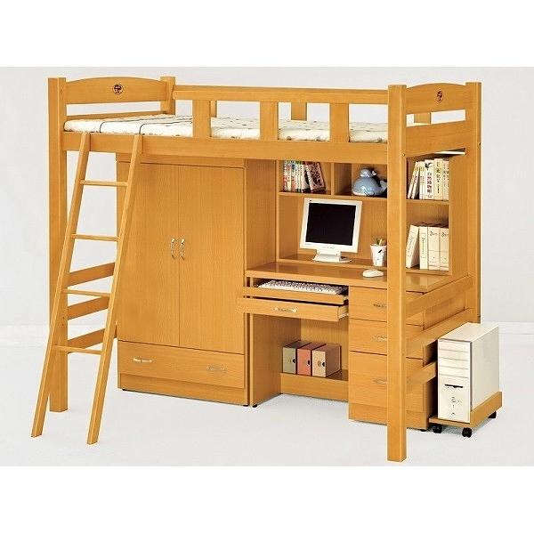 床架高架床MK-703-1貝莎3.8尺檜木色多功能合床組 (含衣櫃電腦桌主機架)(不含床墊)【大眾家居舘】