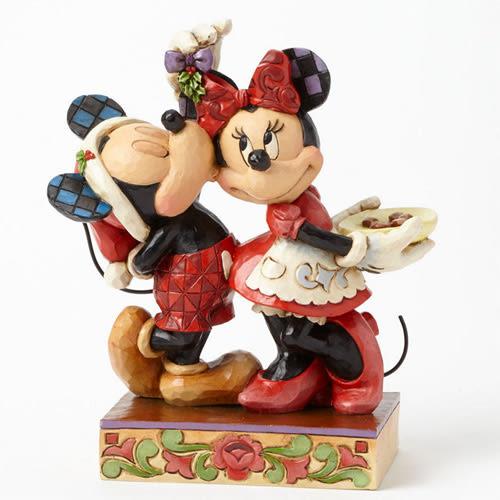 《Enesco精品雕塑》迪士尼米奇米妮聖誕檞寄生下親吻塑像-Under the Mistletoe★funbox生活用品★ EN65014