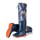 迷彩高筒雨鞋男過膝長筒棉水鞋過膝釣魚防水鞋大碼加絨套鞋