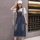 韓版中長款牛仔背帶裙(藍色S~5XL)*...