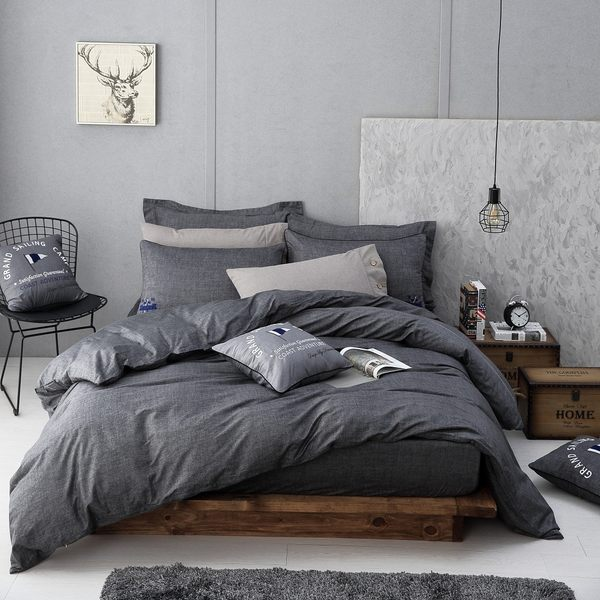 OLIVIA 【 LUCAS 黑灰 】 標準雙人床包枕套組 都會簡約 2017
