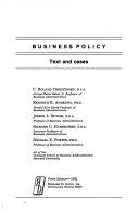 二手書博民逛書店 《Business Policy: Text and Cases》 R2Y ISBN:0256026262│McGraw-Hill/Irwin