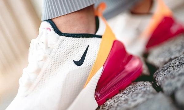 KUMO SHOES Nike Wmns Air Max 270 女鞋 白 桃紅 橘 氣墊 休閒鞋 AH6789-106