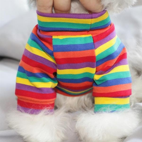 狗狗衣服彩虹條紋打底衫寵物衣服貓咪衣服小型犬衣服 樂淘淘