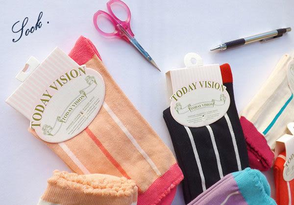 襪子   彩色豎條紋荷葉純棉中筒襪   【FSW046】-收納女王
