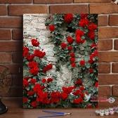 油畫 diy數字油畫花卉風景手繪植物填色畫客廳臥室裝飾油彩畫 玫瑰花牆 8色T