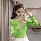 一字領秋冬季韓版低圓領釘珠針織衫修身打底衫上衣女裝套頭休閒     都市時尚