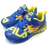 《7+1童鞋》FILA 2-J825T-399  火焰造型  電燈鞋  魔鬼氈  運動鞋 4265  藍色