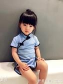 兒童唐裝旗袍夏  女童改良旗袍洋裝子 小寶寶旗袍棉麻 怦然心動