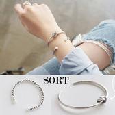 手環 兩件組 麻花珍珠 歐美金屬結 簡約個性手鐲手鍊【1DDB0004】