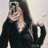 性感v領黑色針織衫毛衣外套女修身顯瘦蕾絲花邊開衫打底衫 卡卡西