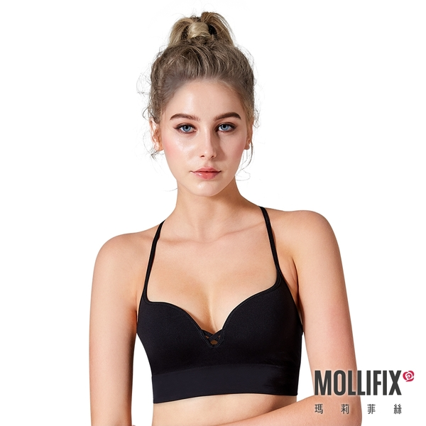 Mollifix瑪莉菲絲 好動細肩帶美胸BRA (黑)