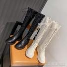 長靴白色靴子女長靴不過膝年新款馬靴顯瘦長筒靴秋季小個子騎士靴 【快速出貨】