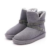 MICHELLE PARK 閃耀魅力 防水2WAY水鑽閃亮環帶雪靴-灰色