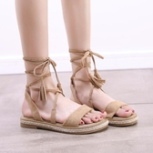 涼鞋夏季新品綁帶涼鞋女仙女風平底學生百搭網紅超火羅馬沙灘鞋