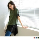《AB15319-》長版撞色拼接不規則下襬短袖上衣 OB嚴選