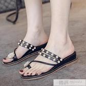 涼鞋女2020新款兩穿仙女百搭學生珍珠厚底厚底楔形套趾拖鞋女士涼拖鞋  夏季新品