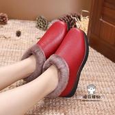 雪地靴 冬季老北京女士棉鞋刷毛防滑保暖休閒中老年媽媽鞋工作鞋