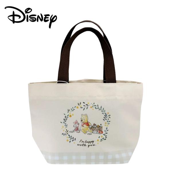 【日本正版】小熊維尼 帆布手提袋 便當袋 午餐袋 小豬 皮傑 維尼 Winnie 迪士尼 - 365985