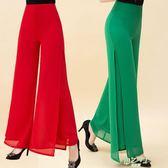 高腰闊腿褲女長褲夏季新品大尺碼女裝簡約開叉休閒雙層雪紡裙褲