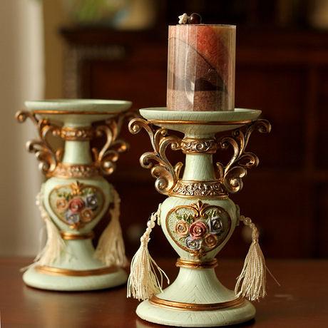 歐式宮庭複古彩繪樹脂玫瑰浮雕燭台 擺件