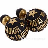 Dior JADIOR Dior tribales 復古鍍金黑色不對稱穿釦式耳環 1820574-01