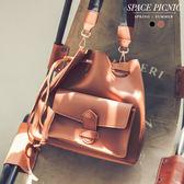 水桶包 Space Picnic|預購.素面皮革束口水桶包(附背帶)【C18052030】