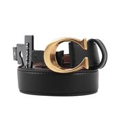 【COACH】金屬C LOGO平滑皮革雙色皮帶 (黑色/焦糖) S.M.XL號.寬2.5cm F83960 B4FD7