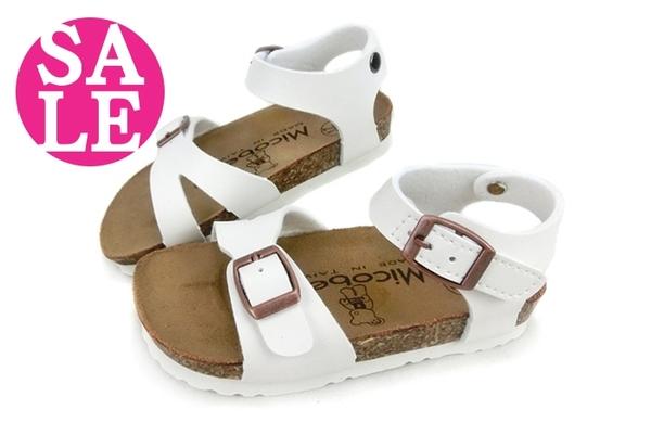 兒童涼鞋 簡約風 小童 台灣製造micobear 素面涼鞋 零碼出清 H6813#白◆OSOME奧森童