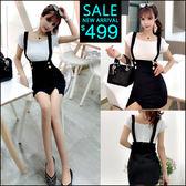 克妹Ke-Mei【ZT45313】韓國東大門 雙排釦併接假二件雙排釦吊帶裙洋裝