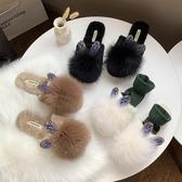 網紅包頭毛毛拖鞋女平底加絨保暖外穿懶人拖鞋可愛兔耳朵半拖鞋潮  蘑菇街小屋