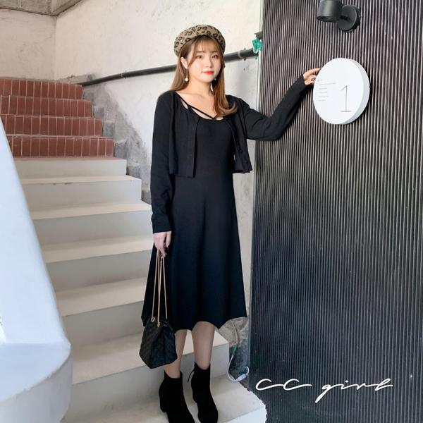 中大尺碼  兩件式黑色氣質性感洋裝 - 適XL~4L《 69129 》CC-GIRL