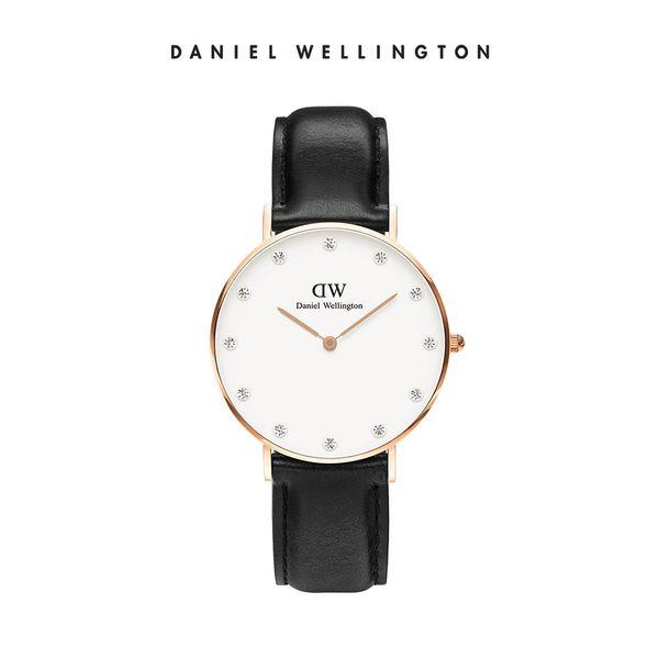 Daniel Wellington DW 手錶 34mm玫瑰金框 Classy 爵士黑真皮鑽石錶